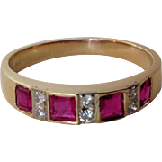 Ruby and Diamond Gold Band 14 Karat