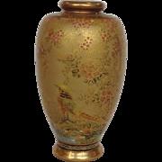 Japanese Satsuma Floral and Bird Vase Circa 1890