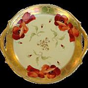 Antique Pickard Poppy Handled Dessert Tray Hand Painted by Casper