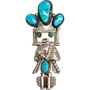 Navajo Kachina Turquoise Pendant or Pin Sterling