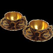 Pair of Coalport Cobalt and Gold Teacups & Saucers