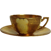 Coalport Yellow Teacup and Saucer with Enamel and Gold