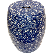 "Minton Blue and White Garden Seat Hawthorn Pattern 19"""