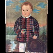 Scottish Boy with Ball Folk Painting Antique