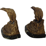 Eagle Bookends Austrian Bronze and Marble 19th c.