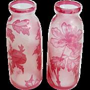 "Pair of Val St Lambert Cameo Glass 7"" Vases"