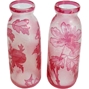 "Pair of Val St Lambert Cameo Glass 7"" Vases"