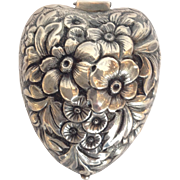 Repousse Heart Box Sterling Dominic & Haff 19th c.