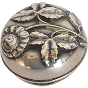 "Sterling Dresser or Pill Box Floral 2"" Circa 1890"