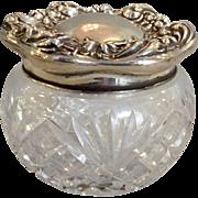 Floral Powder Jar Cut Glass and Sterling Art Nouveau