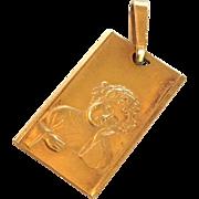 Young Child Gold Pendant 18 Karat Italy