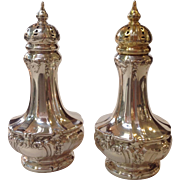 Two Pair Gorham Faces Salt and Pepper Shakers Sterling Circa 1917
