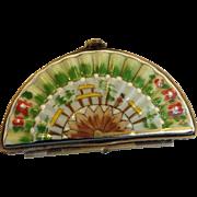 Limoges Asian  Fan Trinket Box
