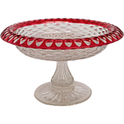 Red to Clear Cut Glass Compote Dorflinger 9""