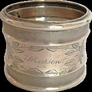Coin Silver Napkin Ring Marion