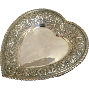 Sterling Heart Tray Repousse Galt Brothers