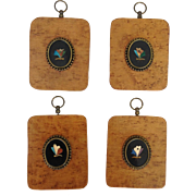 Four Pietra Dura Butterfly Plaques