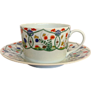 Set of 8 Ceralene JARDIN CHINOIS Teacups with Saucers