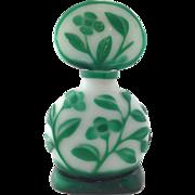 Pekin Green Overlay Glass Perfume Bottle China
