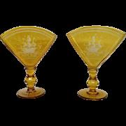 Pair of Amber Bohemian Overlay Fan Vases C 1900