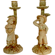 Pair Girl and Boy Hadley Worcester Candlesticks 19th C