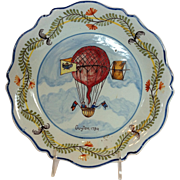 French Faience Hot Air Balloon Plate Early 19th c.