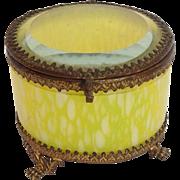 Yellow Glass Box Gilt Brass 19th c.