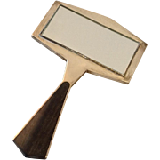 Art Deco Wood and Sterling Hand Mirror and Comb