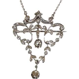 Platinum Diamond Belle Epoque Pendant Necklace or Pin 18k