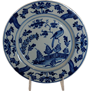 "Dutch Delft Bird Plate 9"" 18th c."