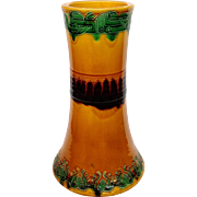 """Asian Vase Green and Gold 12"""""""