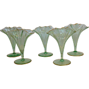 Five Vases Ruffled Edge Small Victorian Blown Glass 19th c.