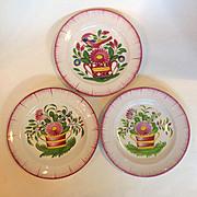 """Three Pink Faience Flower Vase Plates 9"""""""