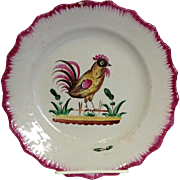 Rooster Faience Plate 19th c.
