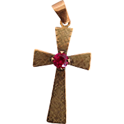 Rose Gold Cross Pendant Synthetic Ruby