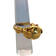 Trifari Gold Hands Holding Ball Ring 1940's