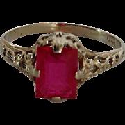 Child's White Gold Filigree Ring Synthetic Ruby 14 Karat Size 2.75