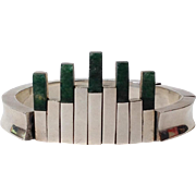 Architectural Bracelet Sterling and Malachite