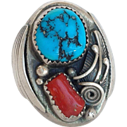 """M Benally Coral and Turquoise Ring Native American Size 10 3/4"""""""