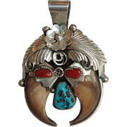 Navajo Silver Pendant Bear Claw Kingman Turquoise and Coral