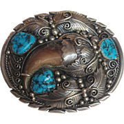 Large Navajo Silver Turquoise Belt Buckle Bear Claw