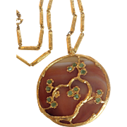 Tree of Life Pendant Agate and Jade Gold Plated 1970's