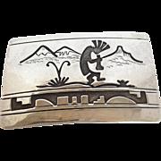 Kokopelli Buckle Sterling  by Wilbur Wauneka Navajo
