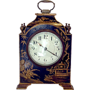 French Black Lacquered Chinoiserie Clock