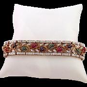 Ruby Emerald Silver Vermeil Openwork Bracelet