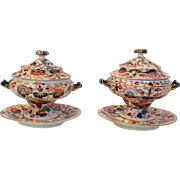 Pair Derby Imari Sauce Tureens with Underplates 19th c