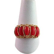Coral Dome Ring 14 Karat Size 7