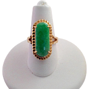 Navette Green Jade Gold Ring
