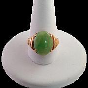 Jade Cabochon Ring 14K