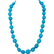 Sleeping Beauty Turquoise Bead Necklace 18 Karat